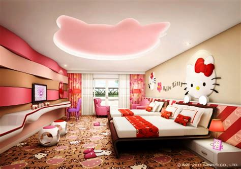 desain kamar tidur  kitty keren  perempuan