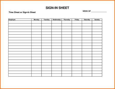 Sign In Sheet Template Attendance Sign In Sheet Exle Mughals