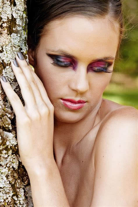 Beautiful Woman With Dramatic Makeup Royalty Free Stock