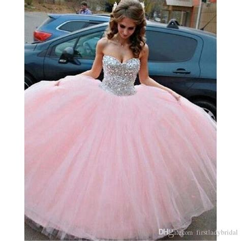 pink ball gown quinceanera dresses tulle puffy style