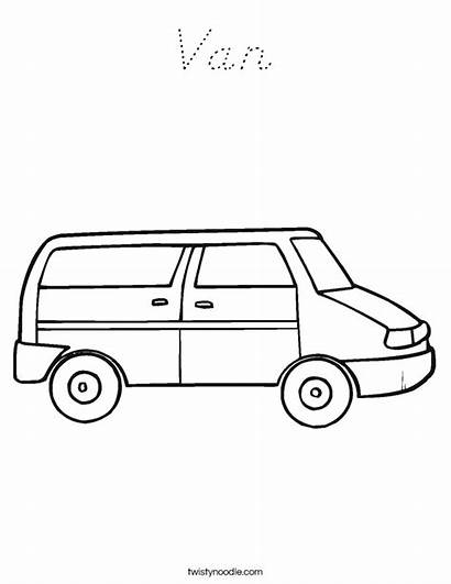 Van Coloring Pages Taxi Bus Transportation Twistynoodle