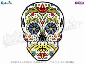 Tete De Mort Mexicaine Dessin : vente autocollant calavera tte de mort mexicaine quicom ~ Melissatoandfro.com Idées de Décoration
