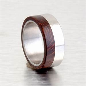 iron wood ring mens wood wedding band with titanium ring With iron wedding ring