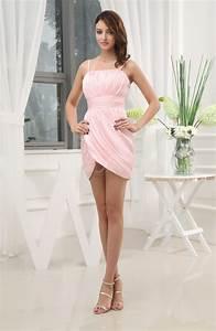 Blush cute spaghetti sleeveless chiffon short ruching for Cute short dresses to wear to a wedding
