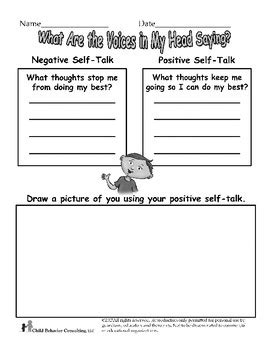 positive  talk worksheet  henrys tools teachers