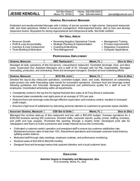 Restaurant Supervisor Resume Exles by Sle Restaurant Manager Resume Recentresumes
