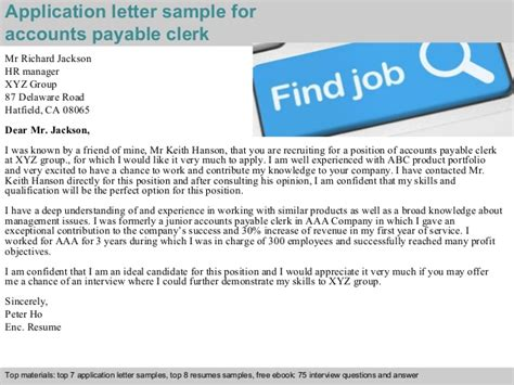 Questions For Accounts Payable Position by Accounts Payable Clerk Application Letter