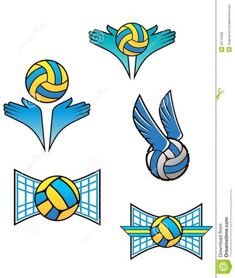 volleyball sports symbols  icons stock  image