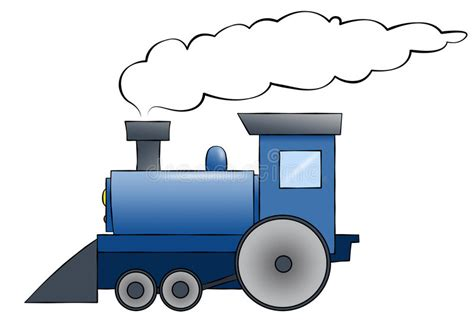 Blue Cartoon Train Stock Illustration. Illustration Of