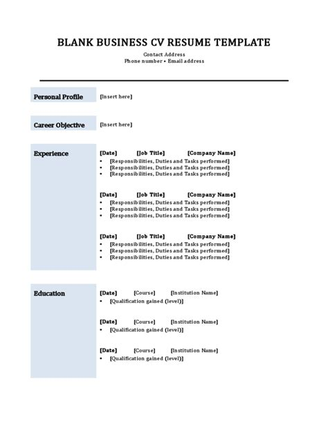resume template microsoft word cv free format in ms inside