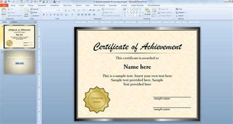 Certificate Template Powerpoint by Certificate Templates