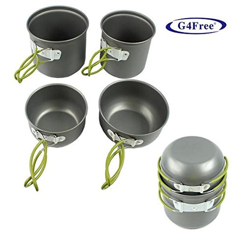camping cooking backpacking cookware pot pan kit hiking outdoor mess gifts g4free picnic unique bowl aluminum cook pans kits backpack