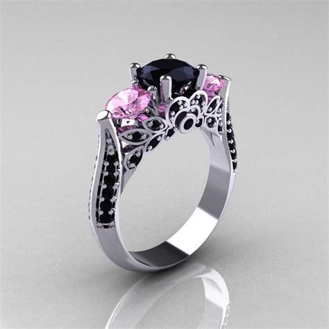 gorgeous black diamond engagement rings deer pearl