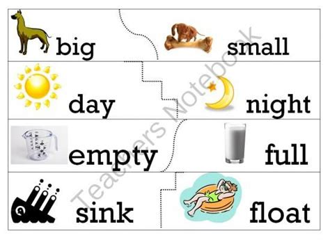 opposites antonyms puzzle matching cards  worksheet