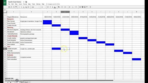 creating  gantt chart  google sheets youtube