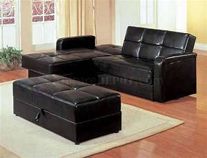 black vinyl modern small sectional sofa w storage and ottoman With small sectional sofa with ottoman