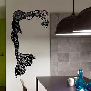 mermaid wall decal hair girl sea ocean bathroom spa salon With mermaid wall decals