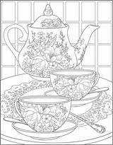 Coloring Tea Dover Publications Colouring Printable Adult Sheets Adults Doverpublications sketch template