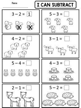 addition and subtraction worksheets for kindergarten with pictures kindergarten addition and subtraction worksheets by s wonderland