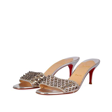bvlgari silver christian louboutin spikes mules silver s 39 6 luxity