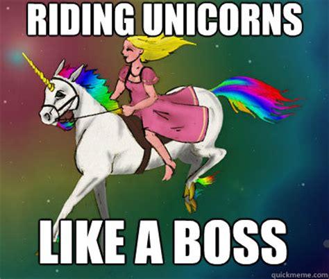 Unicorn Memes - riding unicorns like a boss flying beast rainbow unicorn quickmeme