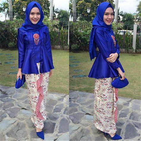 atasan biru polos inspirasi kebaya kutu baru untuk para hijabers