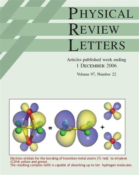 physical review letters 2 phys rev lett софт портал 43937