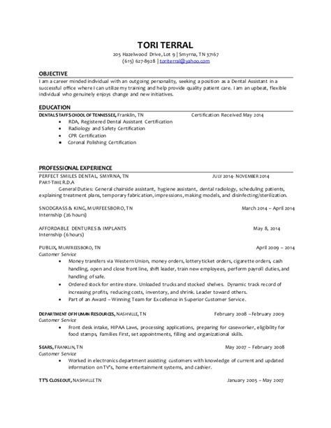 dental assistant resume exles entry level terral