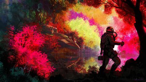artwork fantasy art spacesuit spaceship aliens planet