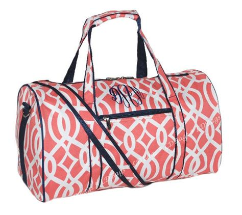 monogram coral vine design  duffle bag