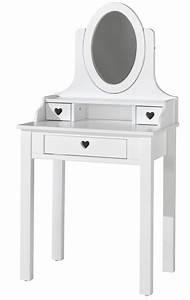Coiffeuse Bois Enfant : coiffeuse 3 tiroirs laqu blanc coeur ~ Teatrodelosmanantiales.com Idées de Décoration