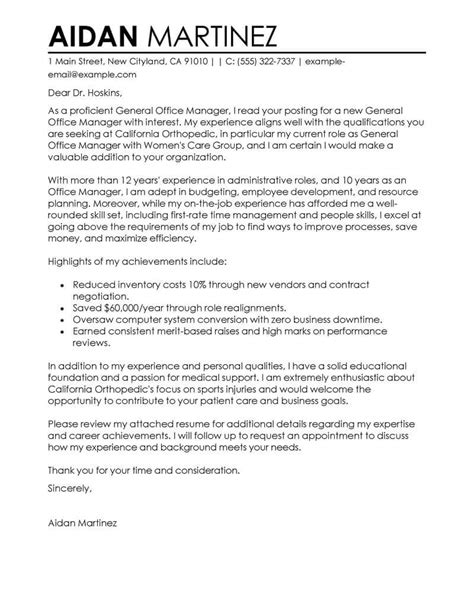 admin general manager cover letter examples