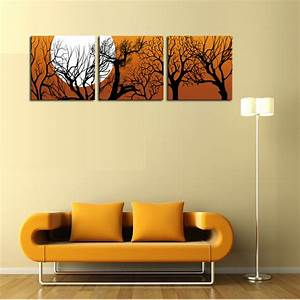 unframed 3 sets canvas painting moon and trees art cheap With wall art cheap