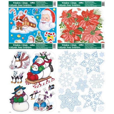christmas window clings assorted designs partyrama