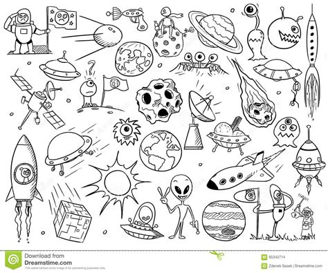 Collection Set Of Alien, UFO Planet And Space Doodles ...