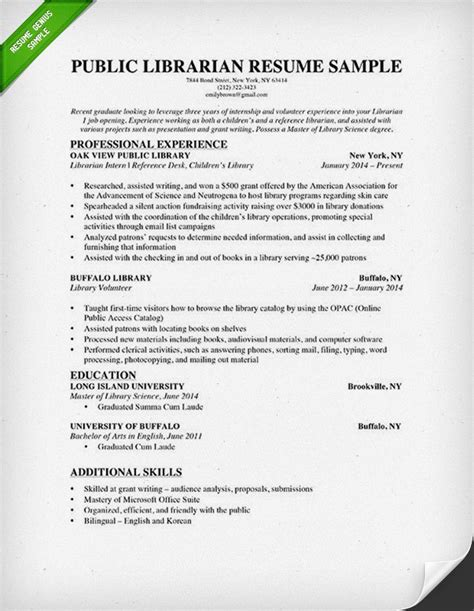 librarian resume sle writing guide rg