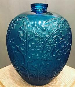Vase Bleu Canard : r lalique vase acanthes verre bleu lectrique souffl moul circa 1921 ren lalique en ~ Melissatoandfro.com Idées de Décoration
