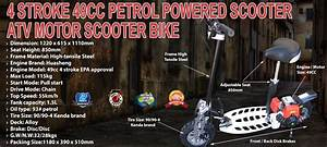 4 Stroke 49cc Petrol Powered Scooter Atv Motor Scooter Bike