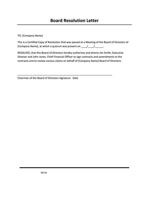 Letter Of Resolution Template by Top 6 Board Resolution Templates Free To In Pdf