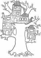 Coloring Treehouse Tree Pages Wierd Clipart Template Popular Library Luna sketch template
