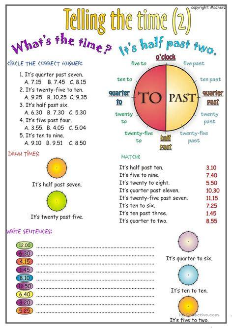 telling the time worksheet part 2 worksheet free esl