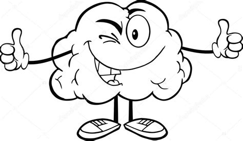Hersenen Kleurplaat by Outlined Winking Brain Character Stock Photo 169 Hittoon