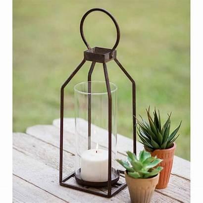 Candle Farmhouse Lantern Pillar Lanterns Rustic Glass