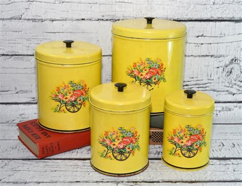 vintage kitchen canisters sets vintage kitchen tin canisters set of 4 yellow