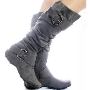 womens boots grey gray suede slouch buckle designer fashion womens knee high b polyvore