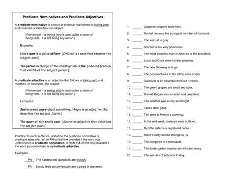 predicate adjective worksheet 7th grade collection