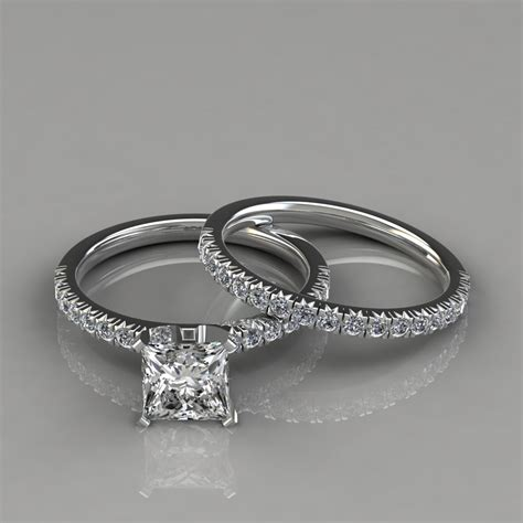 14k French Pave Cut Engagement Ring Wedding Band Set
