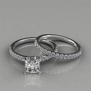 14k french pave cut engagement ring wedding band set for Wedding bands and engagement ring sets