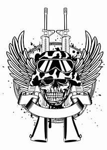 Skull In Helmet And Two Guns Stock Vector