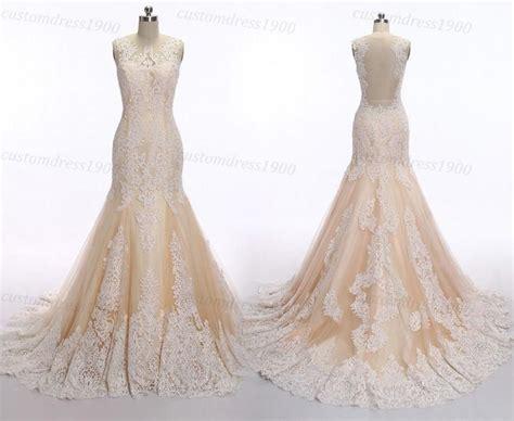 Mermaid Lace Wedding Dress Vintage Champagne Wedding